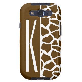 Brown y estampado de animales blanco de la jirafa galaxy SIII coberturas