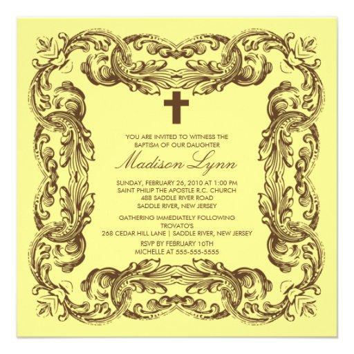 Brown y invitación amarilla del bautismo del marco de Zazzle.