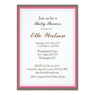 Brown y invitaciones rosadas de la fiesta de invitación 12,7 x 17,8 cm