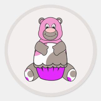 Brown y oso rosado de Polkadot Pegatina Redonda