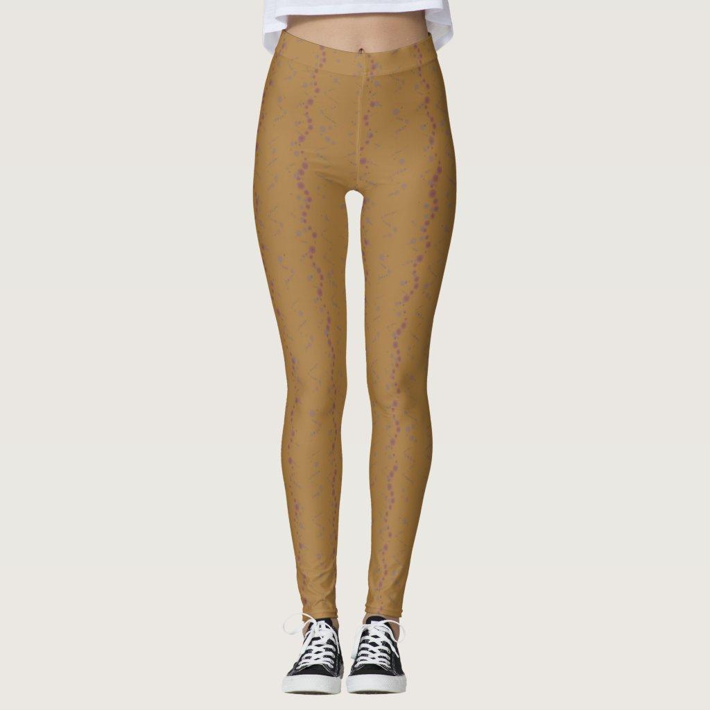 Brown y polainas púrpuras de los Squiggles Leggings