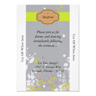 Brown y tarjeta floral gris de la recepción invitación 12,7 x 17,8 cm