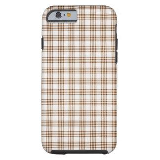 Brown y tela escocesa blanca funda para iPhone 6 tough