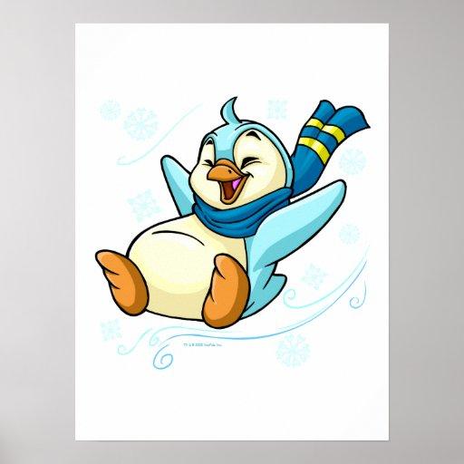 Bruce azul que resbala a través del hielo posters