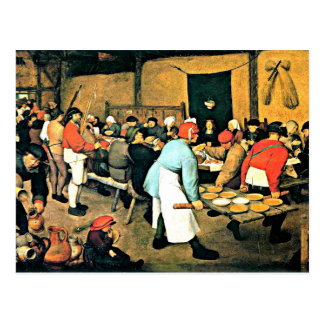 Bruegel el Anciano-Campesino Wedding-1568 Postal