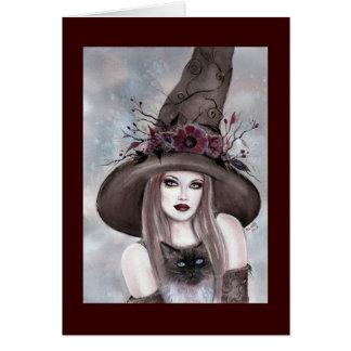 Tarjeta Bruja de Halloween con la tarjeta del gatito de