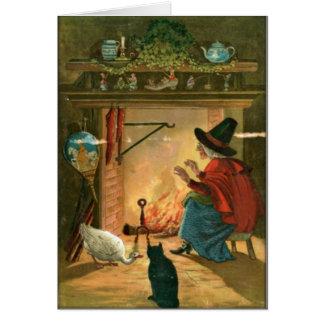 Bruja de Halloween del vintage por la tarjeta
