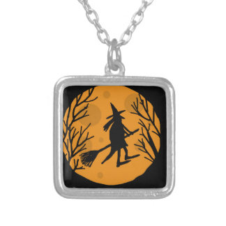Bruja de Halloween - luna anaranjada Colgante Cuadrado
