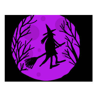 Bruja de Halloween - magenta Postal