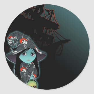 Bruja de Lil en traje del pirata Pegatinas Redondas