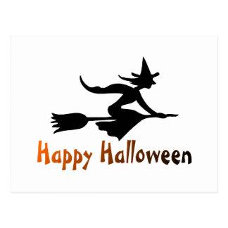 Bruja del feliz Halloween Postal