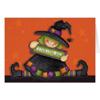 Bruja del feliz Halloween - tarjeta de