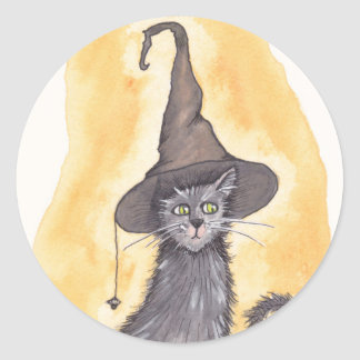Bruja del gatito de Halloween Pegatina Redonda