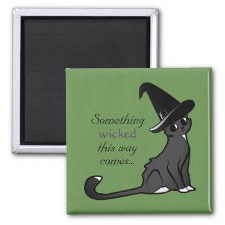 Bruja del gato de Halloween - imán
