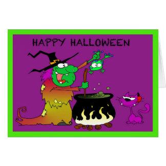 Bruja divertida del feliz Halloween y tarjeta púrp