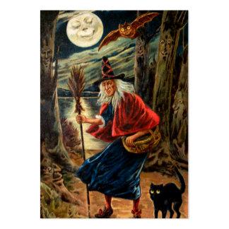 Bruja en la noche de Halloween Tarjeta Personal