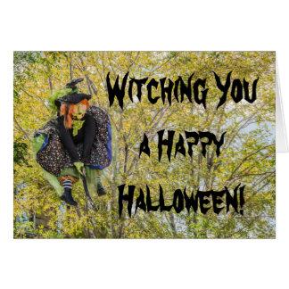 Bruja fea en un palo de escoba - Halloween Tarjeta De Felicitación