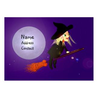 Bruja inalámbrica de Halloween - tamaño rechoncho Tarjeta De Negocio