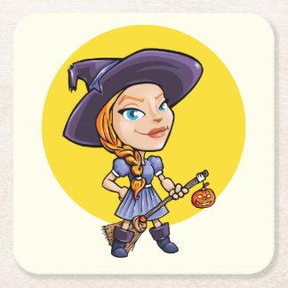 Bruja linda con el dibujo animado de Halloween de Posavasos De Papel Cuadrado