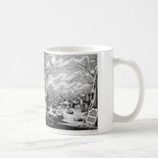 Bruja y cementerio taza de café
