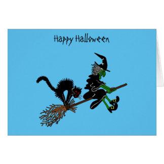 Bruja y gato de Halloween del dibujo animado Tarjeta De Felicitación