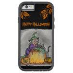 ¡Bruja y gato, feliz Halloween! Funda De iPhone 6 Tough Xtreme