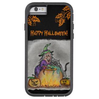 ¡Bruja y gato, feliz Halloween! Funda Para iPhone 6 Tough Xtreme