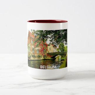 BRUJAS, BÉLGICA TAZA DE CAFÉ DE DOS COLORES