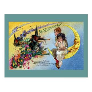 Brujas, Goblins y hombre en la luna Halloween Postal