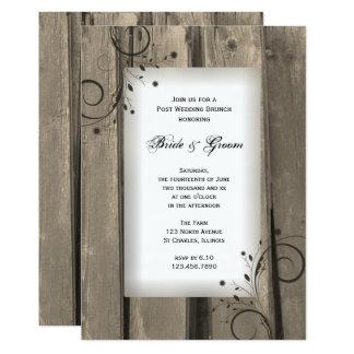 Brunch de madera del boda del poste del granero invitación 12,7 x 17,8 cm