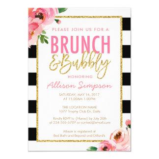 Brunch floral e invitación nupcial burbujeante de