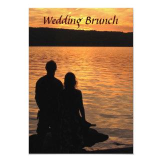 Brunch tropical del boda de la puesta del sol de invitación 12,7 x 17,8 cm