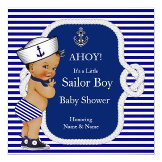 Brunette de la raya azul del muchacho de marinero invitación 13,3 cm x 13,3cm