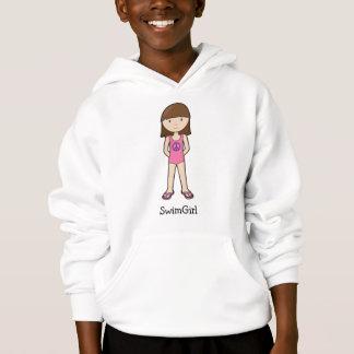 Brunette de SwimGirl con el signo de la paz