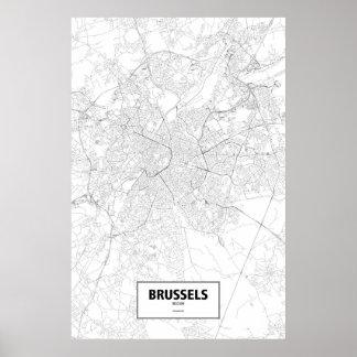 Bruselas, Bélgica (negro en blanco) Póster