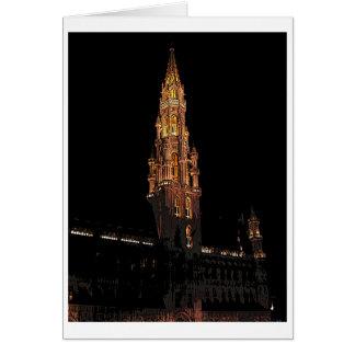 Bruselas en la noche tarjeta de felicitación
