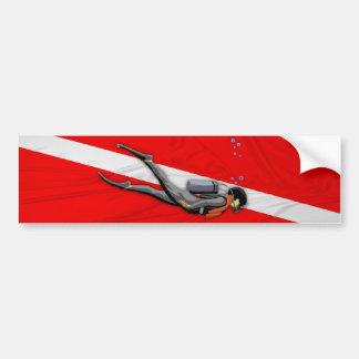 Buceador y bandera arrugada de la zambullida pegatina para coche