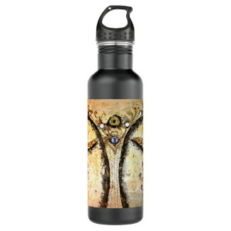 Buda de oro observa el negro mate de la botella de