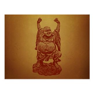 Buda de risa (rojo oscuro) postal