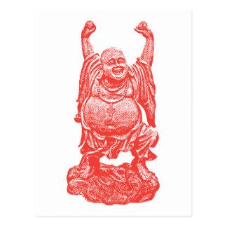 Buda de risa (rojo) postales