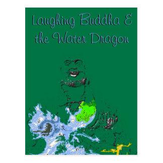 Buda de risa y la postal del dragón de agua