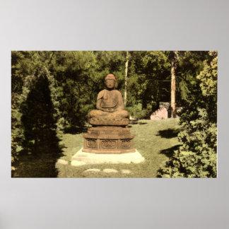 Buda en el vintage japonés 1915 del jardín impresiones