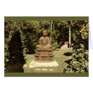 Buda en el vintage japonés 1915 del jardín felicitaciones