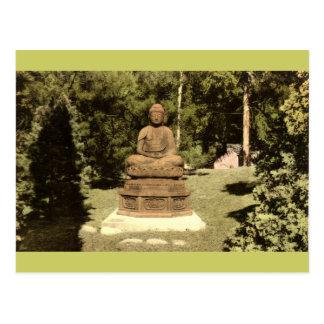 Buda en el vintage japonés 1915 del jardín postal