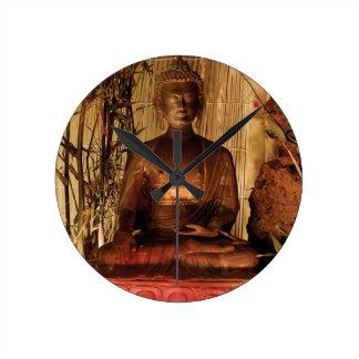 BUDA: Estatua de cobre Reloj Redondo Mediano