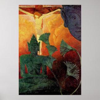 Buda y Cristo - pintura del vintage de Paul Ranson Poster
