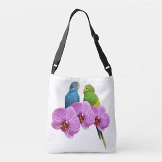 Budgie con la orquídea púrpura bolso cruzado