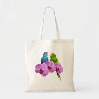 Budgie con la orquídea púrpura bolso de tela