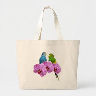 Budgie con la orquídea púrpura bolso de tela gigante