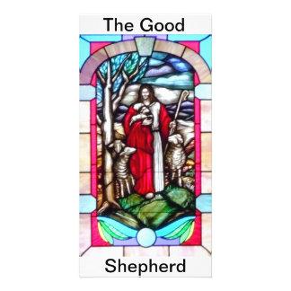 Buen pastor del vitral tarjetas personales